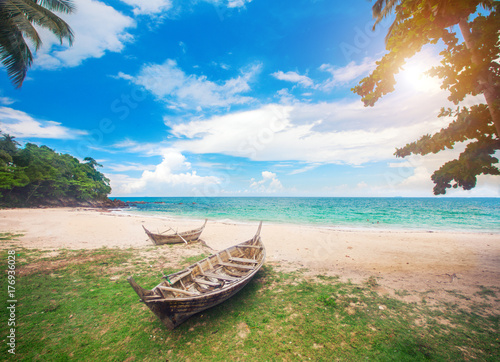 beach and fishing boat, koh Lanta, Thailand