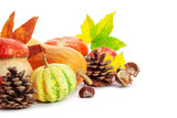 Autumn display with pumpkin and leaves isolated on white background