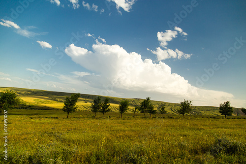 beautiful landscape with clouds in the sky