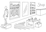 Shop interior graphic black white sketch illustration vector - 176952822