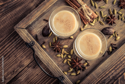 Traditional indian drink - masala chai tea