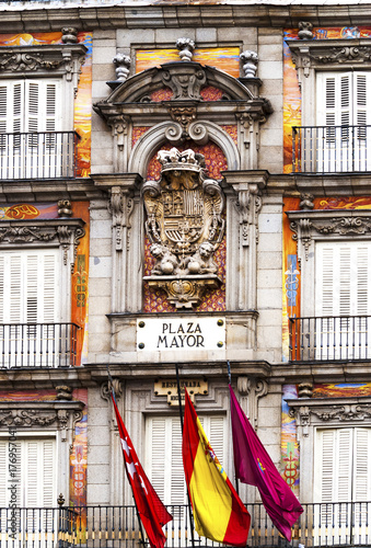 Madrid Spain detail of a decorated facade and balconies at the Plaza Mayor Poster