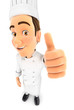 3d head chef positive pose with thumb up