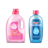Branded household chemicals pink and blue plastic bottles with brand information realistic vector template isolated on white background. Detergent, toilet cleaner, liquid soap, stain remover mockup - 176962881