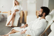 Quadro Beautiful woman and handsome man relaxing in spa center
