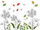 Dandelion flowers on autumn meadow with falling leaves vector illustration.