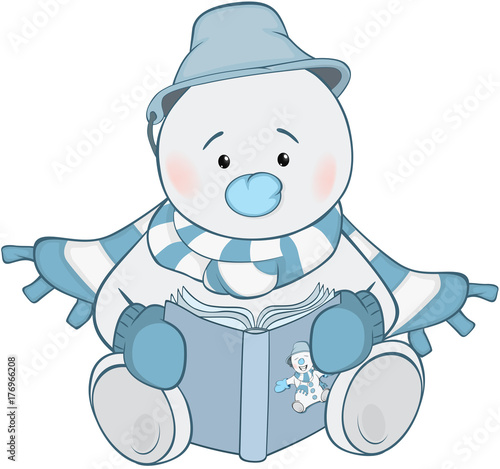 Papiers peints Chambre bébé Illustration of Cute Snowman. Cartoon Character