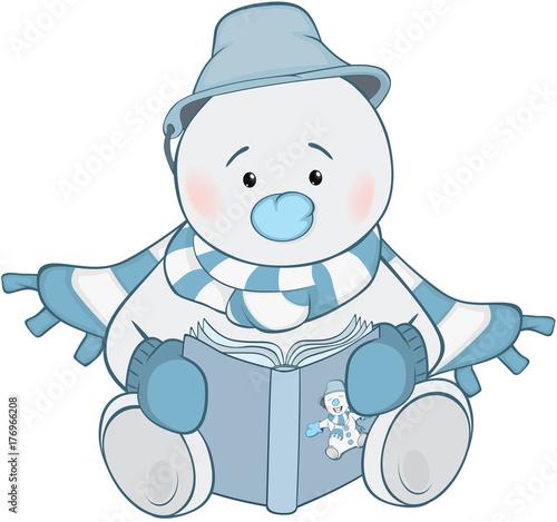 Fotobehang Babykamer Illustration of Cute Snowman. Cartoon Character