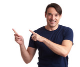 man smiling and pointing finger. Isolated - 176968673