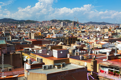 Summer view of Barcelona city Poster