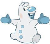 Illustration of Cute Snowman. Cartoon Character - 176970035