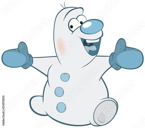Papiers peints Chambre bébé Illustration of Cute Snowman. Cartoon Character
