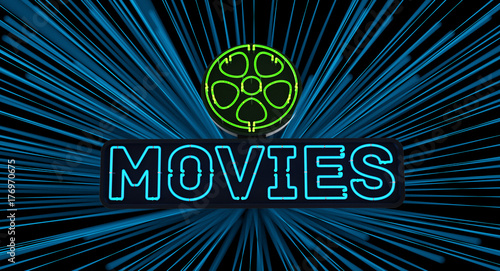 Neon Movies Sign on Dark Background