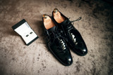 Wedding shoes and cufflinks. Wedding accessories for the groom. Groom clothes. - 176977222