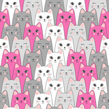 Seamless cute cats pattern. Vector background.