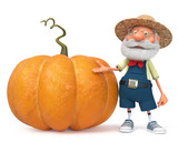3d illustration farmer with a big pumpkin - 176978640