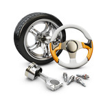 3d Illustration of car steering wheel, piston and wheel , isolated white - 176978812
