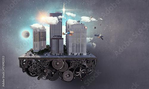 Fridge magnet Modern city concept. Mixed media