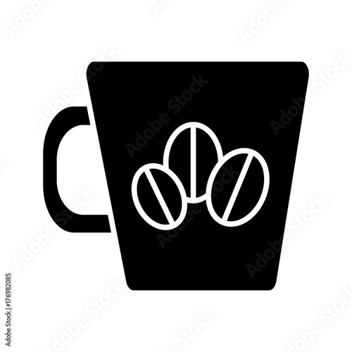 coffee cup with coffee beans icon, illustration, vector sign on isolated background