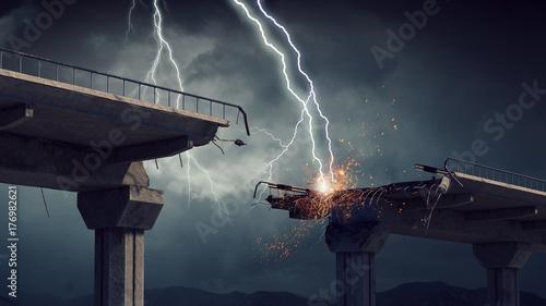 Bright lightning from sky