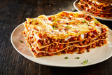 Tasty lasagne served on plate - 176983290