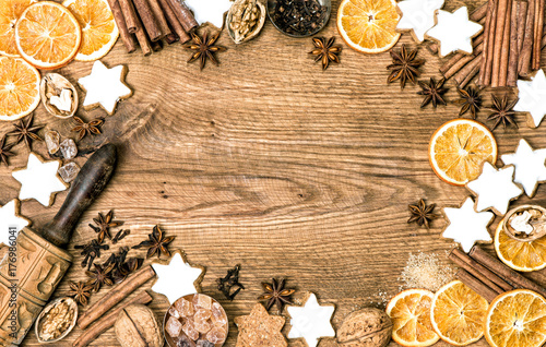 Cookies spices Christmas food background vintage Poster