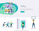 Flat design banner and elements of education. Vector illustration concept for web design, marketing, and print material. - 176986400