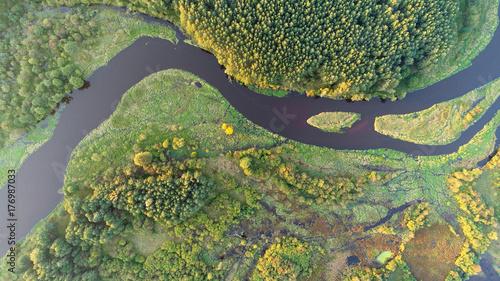 Papiers peints Olive Aerial wiev of natural river