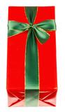 paquet cadeau rouge avec ruban vert  - 176988273