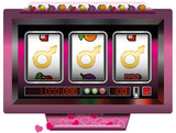 Dream lover win with slot machine - symbol for having good fortune to find the ideal man - slot machine jackpot with three male signs. Vector illustration on white background. - 176994073