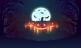 Background with pumpkins, bats, moon and scary woods. Halloween design. Vector illustration. - 176994216