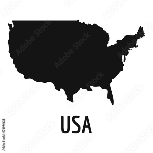 USA map in black vector simple