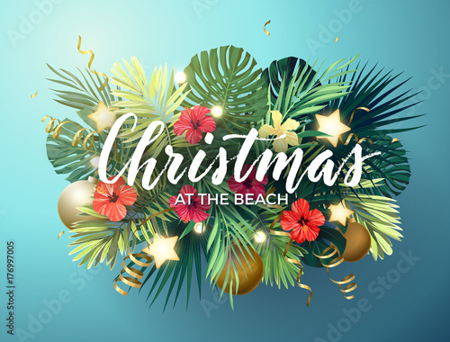 Christmas on the summer beach design with monstera palm leaves, hibiscus flowers, xmas balls and gold glowing stars, vector illustration.