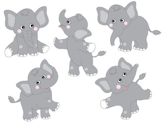 Vector Set of Cute Cartoon Elephants