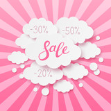 Paper clouds with sale message on pink background - 177000432