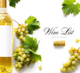 wine list background; sweet white grapes and wine bottle - 177004050