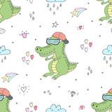 Seamless pattern with cute crocodile. vector print. - 177012444