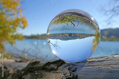 Leinwanddruck Bild wohlensee in kristallkugel, schweiz