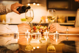 Young couple have romantic dinner with wine. Romantic concept . - 177019842