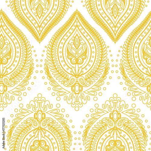 Ethnic seamless pattern. damask vector background - 177021285