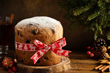 Traditional Christmas panettone with dried fruits - 177022803