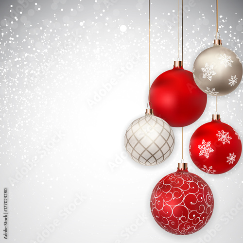 Sticker Merry Christmas and New Year Background. Vector Illustration