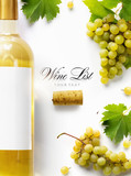 wine list background; sweet white grapes and wine bottle - 177024801