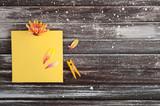 Orange yellow note paper, flower - 177026236