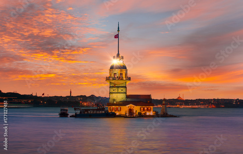 The Maiden's Tower in Istanbul-Turkey Poster