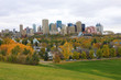 Edmonton, Canada cityscape with colorful aspen in fall