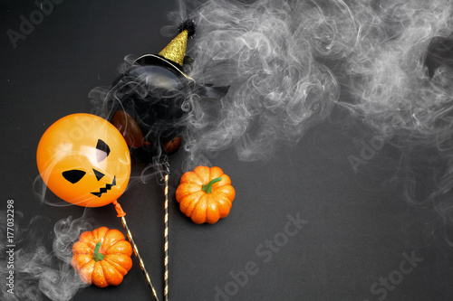 holidays, decoration and party concept - air balloons for halloween over black background Poster