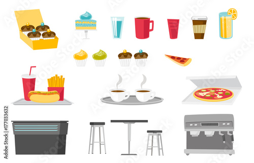 Food and drinks illustrations set. Collection of cupcake, glass of water and juice, cup of tea and coffee, soda, fast food, coffee-machine. Vector cartoon illustrations isolated on white background.