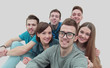 portrait of a team of cheerful and happy young people. the conce