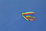 beautiful colored kite flying high in the sky - 177036250